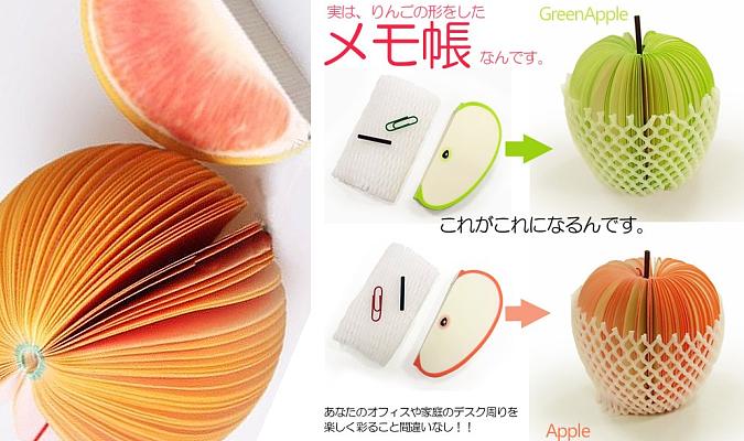 フルーツの形をしたメモ帳♪ 立体 3D 付箋 クリップ/網ネット付き フルーツメモ帳
