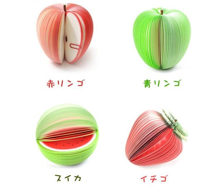 3D フルーツメモ帳(7個セット) 付箋 クリップ/網ネット付き